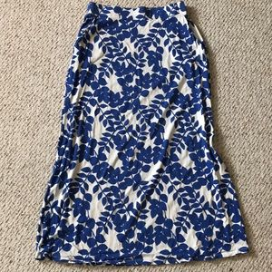 Boden Klein Maxi Jersey Skirt Blue Leaves Sz 12P